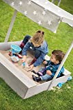 roba 455011GAV190 Sandkasten klein mit Sonnendach 'Little Stars', Holzsandkasten aus wetterfestem Massivholz, grau lasiert - 3