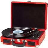 Tocadiscos Denver VPL-120 RED, Reproducción a 3 Velocidades, Diseño Maleta, 2 Altavoces Estéreo,...