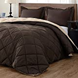 downluxe Lightweight Solid Comforter Set (Queen) with 2 Pillow Shams - 3-Piece Set - Brown and Tan - Down Alternative Reversible Comforter