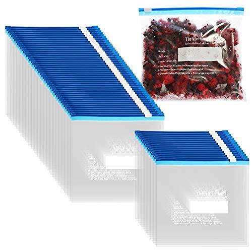 COM-FOUR 60x sacchetti per congelatore da 1 litro per la chiusura, sacchetti richiudibili per conservare il fresco per la conservazione degli alimenti - fino a -40 C (1 L - 60 pezzi)