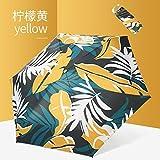 weichuang Paraguas plegable con 5 parasoles para mujer, protección solar anti UV, pequeño revestimiento negro, soleado, lluvioso, doble uso, plegable, para niñas, parapluie unisex (color: amarillo)
