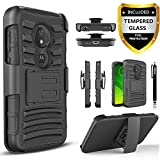 T-Mobile Revvlry Case, Moto G7 Play / Optimo XT1952DL Case, with [Tempered Glass Screen Protector] Drop Protection [Combo Holster] Rugged Belt Clip Phone Cover with Built-in Kickstand and Stylus-Black