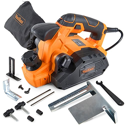 VonHaus 7.5 Amp Electric Wood Hand Planer Kit with 3-1/4' Planing Width and Extra Set of Planer Replacement Wood Blades - Electric Door Planer