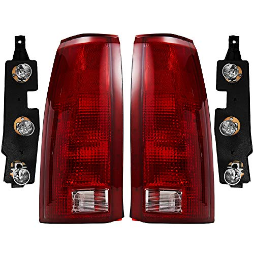 OE Style Replacement Rear Brake Tail Lights Left & Right Sides Pair with Bulb Sockets & Connector Plates for 1988-2000 C10 K10 Blazer Yukon Tahoe Suburban Sierra GM2800104 GM2801104 5977867 5977868