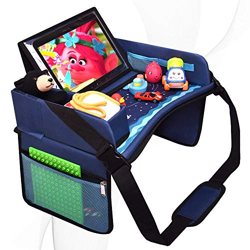 DMoose Travel Lap Activity Tray for Kids and Toddlers, Padded Comfort Base, Side Walls, Mesh Snack Pockets, Tablet Holder, Waterproof Car Seat, Stroller, Airplane Play and Learn Area (Blue)