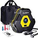 Audew Upgraded Portable Air Compressor Tire Inflator with Gauge, Auto Digital Air Pump for Car Tires with Extra LED Light, DC 12V 150 PSI Tire Pump for Car,Bicycle,Motorcycle,Basketball,Pool Toys