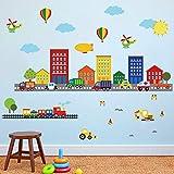 decalmile Stickers Muraux Transports Construction Voiture Autocollant Décoratifs Ville Maison Décoration Murale Chambre Enfants Bébé Pépinière