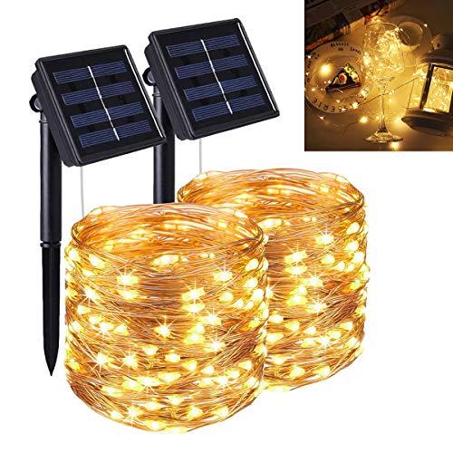 Guirnaldas Luces Exterior Solar, Luces Led Solares para Exteriores, 2* 22M 2* 200 LED Guirnaldas Luces, 8 Modos Cadena de Luces Decoracion para Navidad Terraza Fiestas Bodas Patio Jardines Festivales