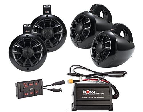 NOAM NUTV4 Quad - 4 Channels Marine Bluetooth ATV/Golf Cart/UTV Speakers Stereo System