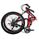 Kingttu G6 Mountain Bike 21 Speed 26 Inches Regular Spoke Wheels Dual Suspension Folding Bike Red