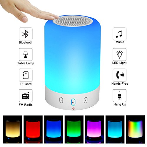 Night Light Bluetooth Speaker, Portable Wireless Bluetooth Speaker, 6 Color LED Themes Bedside Table Light/Smart Touch Control Color Changing Stereo Subwoofer, Handsfree/Phone/MicroSD/Supported
