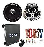 2) HIFONICS HFX12D4 12' 1600W Car Audio DVC Subwoofers +Mono Amplifier+Amp Kit