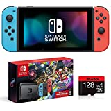 Nintendo 2021 Switch Console - Neon Blue and Neon Red Joy-Con + Mario Kart 8 Deluxe + 3 Month Switch...