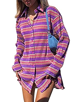 🌸Material:Polyester,lightweight,soft,breathable and great feel fabric,provides you a comfortable touch. 🌸Style:Oversized button front shirt dress for women,striped print mini dress,featuring turn down collar blouse dress for women,cute lettuce trim s...