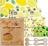 Emballage Cire d'Abeille Réutilisable ou Bee Wrap Lot de 8, Uarter Emballage Alimentaire Biodégradables Naturels et Écologique,Respectueux de l'environnement pour Sandwichs Fruits Fromage