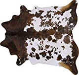 Tricolor Brazilian Cowhide Area Rug, Cowskin Leather Hide for Home Living Room (XL) 7 x 6 ft by Pergamino