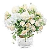 Hawesome 3 pièces Bouquet de Roses Hortensia Fleurs Artificielle en Soie Arrangement de Fleurs Nuptiale Bouquet de Mariage décoration d'intérieur Article de décoration Generic en Rose Blanc sans Vase