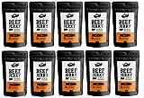 Craftsman Beef Jerky Smoky 500g | Aus Deutschland - Bayern | Jerky Beef Set 10 x 50g | 100% Rindfleisch | High Protein 68% | Biltong / Dörrfleisch / Trockenfleisch Smoky | 100% Natürlich | Ohne Zucker