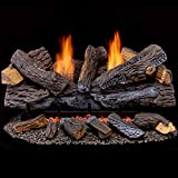 Duluth Forge Vent Free Set-30 Stacked Oak Ventless Dual Fuel Gas Log Set-Berkshire Remote Control, 30 Inch