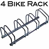 EasyGoProducts EGP-BIK-004 4 Bike Rack  Vertical Floor Bicycle Parking Stand for Storage - Heavy Duty Compact Steel Design