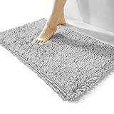 Luxury Chenille Bathroom Rug,Extra Soft and Cozy, Non-Slip,Super Absorbent Water, Machine Wash Dry, Shaggy Chenille Bath Mats for Bathroom Bedroom,15x23 inches,Grey