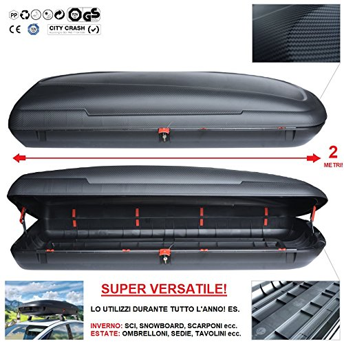 italfodere Baule da Tetto 480Lt Box Auto Portatutto Portabagagli Portapacchi Portasci BA480 Carbox...
