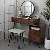 Angelbee Solid Wood Vanity Table Set with Lighted Mirror and Bench, Dressing Table Makeup Desk with Two Drawers Lipstick Holder and Iron Frame Storage Cabinet, for Girl Woman Bedroom (Brown)