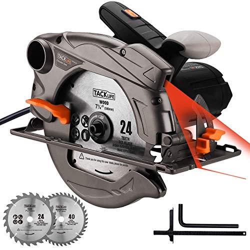 TACKLIFE 1500W 4700U Klassische Handkreissäge, Kreissäge mit Laser, 2 Klingen (24T / 40T), Max Schnitttiefe: 90°: 63mm / 45°: 45mm, zum Scheiden von Kunststoff, Sperrholz und Weichmetall - PES01A