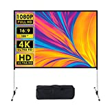 Projector Screen and Stand, 100 Inch 4K HD 16:9 Portable Wrinkle-Free Outdoor Projector Screen with Carry Bag for Home Theater Backyard Cinema Rear Front Projections (1)