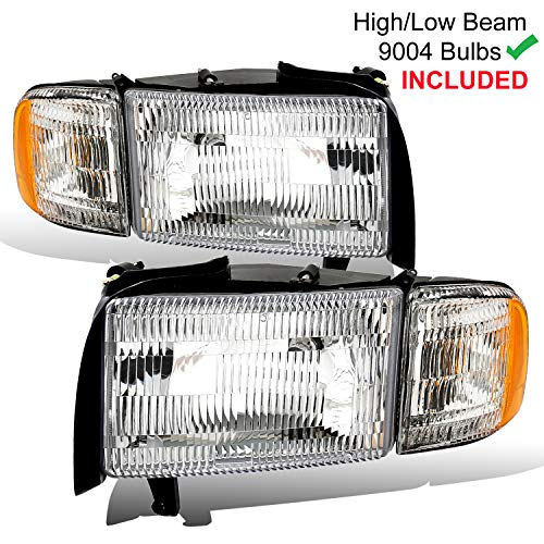 AmeriLite 1994-2001 Chrome Replacement Headlight and Corner Set for Dodge Ram Pickup Truck Left and Right Side