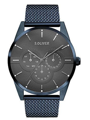 s.Oliver Herren Multi Zifferblatt Quarz Armbanduhr mit Edelstahlarmband SO-3573-MM