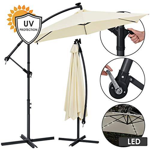 ArtLife Ampelschirm Brazil 300 cm LED-Beleuchtung Solar & Kurbel – UV-Schutz wasserabweisend knickbar – Sonnenschirm Marktschirm – grau/Creme