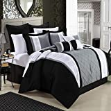 Chic Home 8-Piece Embroidery Comforter Set, Queen, Livingston Black
