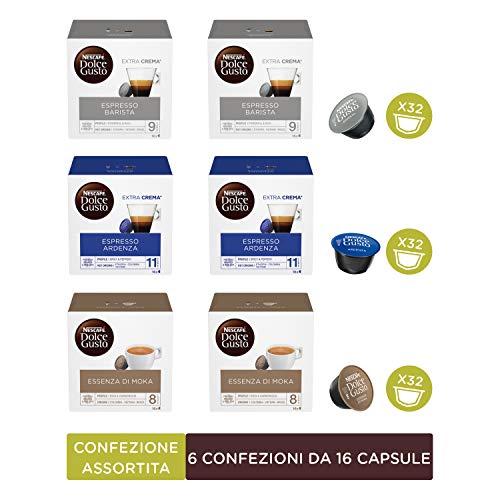 Nescafé Dolce Gusto Kit Degustazione di Caffè Espresso Barista, Espresso Ardenza ed Essenza di Moka, 6 Confezioni da 16 Capsule (96 Capsule)