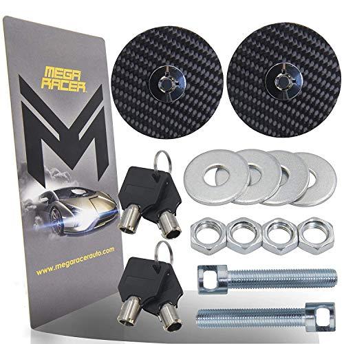 Mega Racer Hood Pins Kit - Universal Black Carbon Fiber Key Locking Kit For Racing Sport Car Mount Bonnet Nismo Auto Sedan Coupe