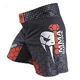 SOTF Pantalones cortos de boxeo para hombres de entrenamiento de lucha cortos de los hombres MMA BJJ cortos no Gi, Negro Rojo Con Bolsillo, XX-Large