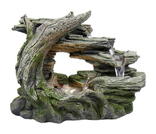 HP&G home, pets & garden Wasserbrunnen aus Polyresin, Stonewood, Zimmerbrunnen mit LED-Beleuchtung, Dekoration, Luftbefeuchter,ca. 34,5x18,5x26,5cm