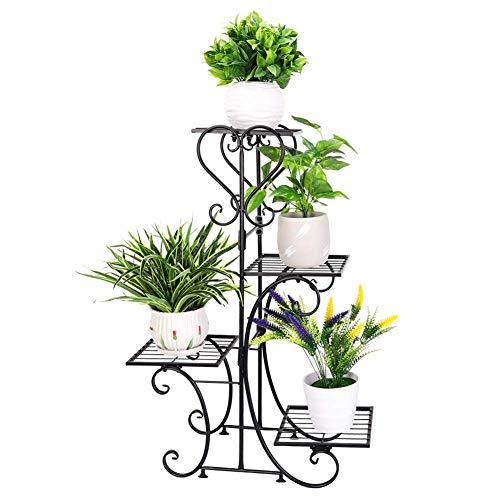 Wisfor Metall Pflanzenregal 4 Ebenen: Blumentreppe Retro Pflanzentreppe für innen und außen Garten Balkon, schwarz Blumenregal Mehrstöckig 81×57×26cm