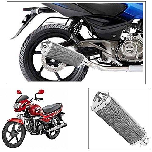 ExhaustShop Triangle Carbon Fibre Finish Motorcle Exhaust Silencer for Hero Motocorp Super Splendor 41