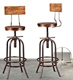 Industrial Bar Stool-Adjustable Swivel Round Wood Metal Kitchen Stool-26-32.3 Inch Rustic Farmhouse-Counter Height Extra Tall Bar Height Stool,Arc-Shaped Backrest,Welded,Set of 2