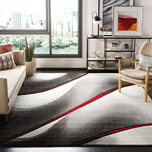 Safavieh Hollywood Collection HLW712K Mid-Century Modern Non-Shedding Stain Resistant Living Room Bedroom Area Rug, 9' x 12', Grey / Red