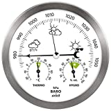 airself Station météo analogique en Acier Inoxydable - avec baromètre/thermomètre/hygromètre - pour intérieur/extérieur