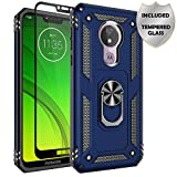Moto G7 Power Case, Moto G7 Supra Case, Sunbrightful Military Grade Drop Protection Defender Kickstand Case with Tempered Glass Screen Protector for Moto G7 Power - Blue