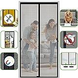 Fiberglass Magnetic Screen Door 40' x 83', Heavy Duty Mesh Screen Doors Magnets, Retractable Door Screen Magnetic Closure for Patio and Sliding Doorways, Full Frame Hook&Loop, Self Sealing (Black)