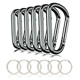 CampTek 3' Aluminum Carabineer Keychain Clip with Keyring, Light Durable D Shape Nonlocking Carabineer Hook Buckle for Outdoor Camping EDC Key Chain Ring, Grey, 6 Piece