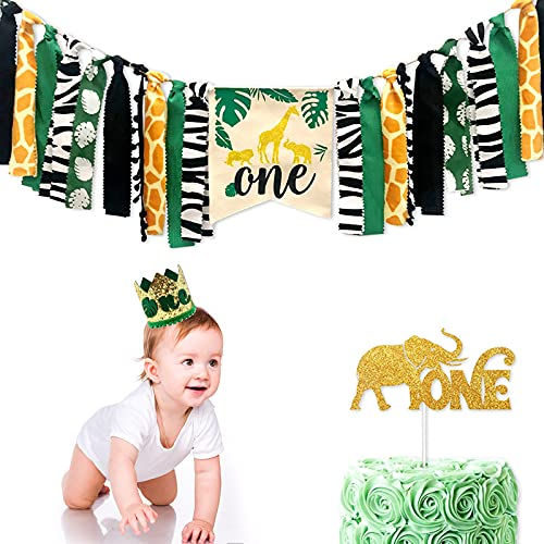 1st Birthday Party Jungle Safari Theme Party Supplies,Boy Girl First Birthday Party Decorations Animal Happy Birthday Baby Shower Party Decor - Wild One Highchair Banner Cake Topper and NO.1 Crown Set