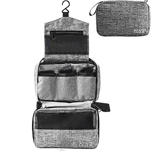 Kulturtasche zum Aufhängen Faltbarer Reise Kulturbeutel mit Tragegriff Waschtasche Premium-Qualität Waschbeutel für Männer & Frauen (grau)