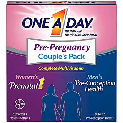 One a day pre pregnancy multivitamin couple's pack contains two sets of complete multivitamins specially designed to support pre pregnancy health as a couple For her, One a day women's Prenatal multivitamins are the OB/GYN recommended over the counte...