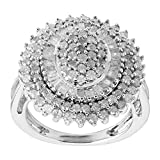 2 ct Diamond Oval Sunburst Ring in Sterling Silver, Size 7