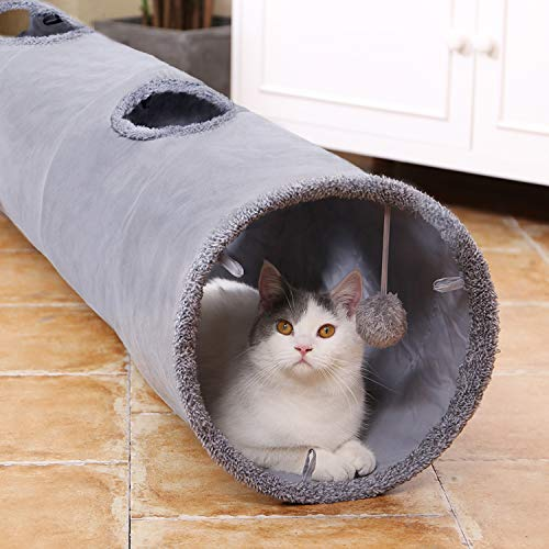 Speedy Pet Collapsible Cat Tunnel, Cat Toys Play Tunnel Durable Suede Hideaway Pet Crinkle Tunnel with Ball,12 inch Diameter M
